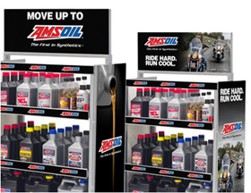 Shelving provided to retailers who stock AMSOIL Products