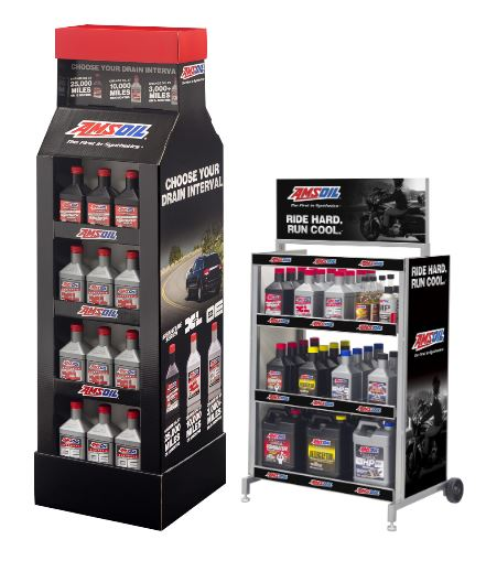 AMSOIL POP Display Shelving and movable cart.