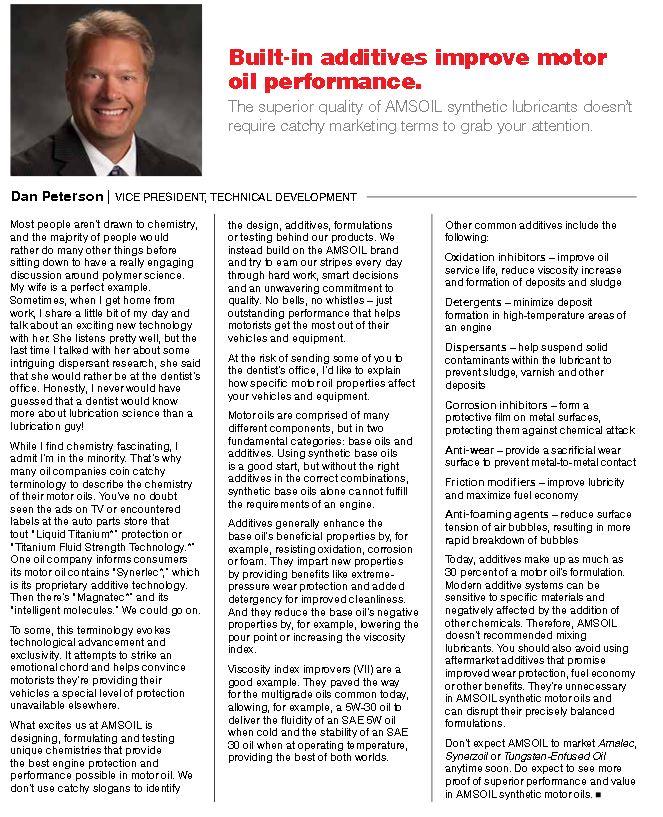 Dan Peterson AMSOIL Vice-President of Technical Development