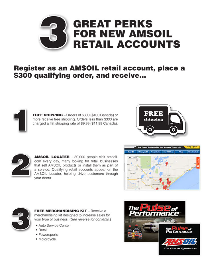 Retail accounts get Free Shipping - AMSOIL Internet Locator - Free advertising swag
