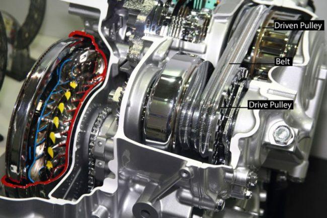 CVT belt system cutaway